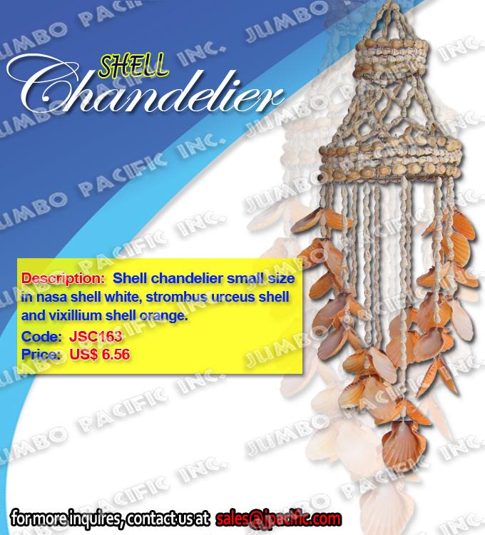 Shell Chandelier small size in nasa shell white, vixillium shell orange