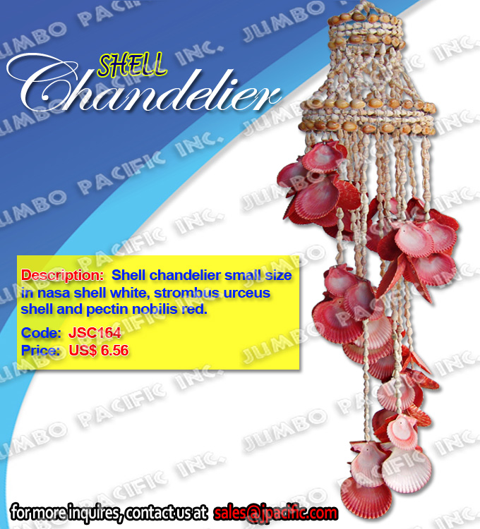 Shell Chandelier small size in nasa shell white, pectin nobilis red